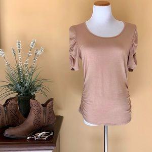 Beige Lace Back Top LARGE Shirred Hip & Sleeve
